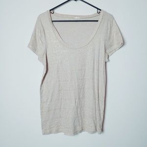 J. Crew Scoop Neck Cream with Metallic Gold Tee